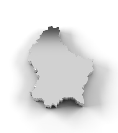 Luxembourg map 3D silver with clipping path photo