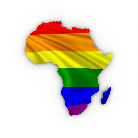 Africa map showing a rainbow flag and including a clipping path. photo
