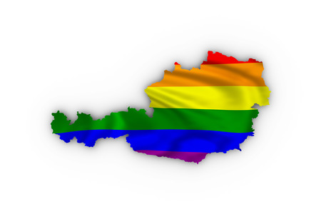 trans gender: Austria map showing a rainbow flag and including a clipping path.