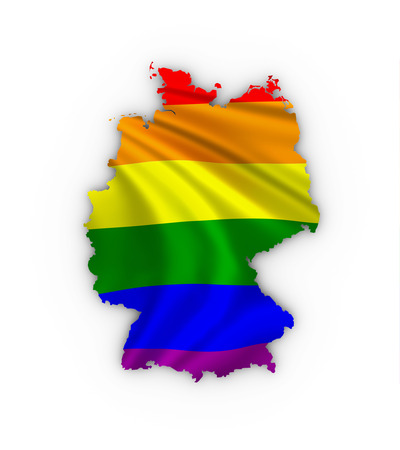 trans gender: Germany map showing a rainbow flag and including a clipping path.