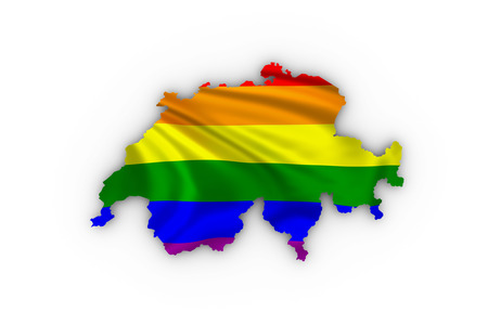 trans gender: Switzerland map showing a rainbow flag and including a clipping path.