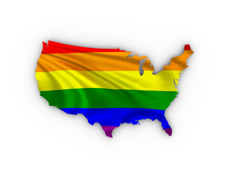trans gender: USA map showing a rainbow flag and including a clipping path.