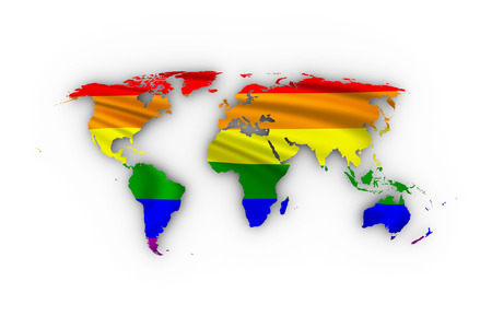 trans gender: World map showing a rainbow flag and including a clipping path.
