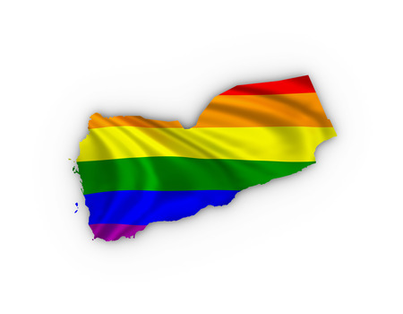 trans gender: Yemen map showing a rainbow flag and including a clipping path.