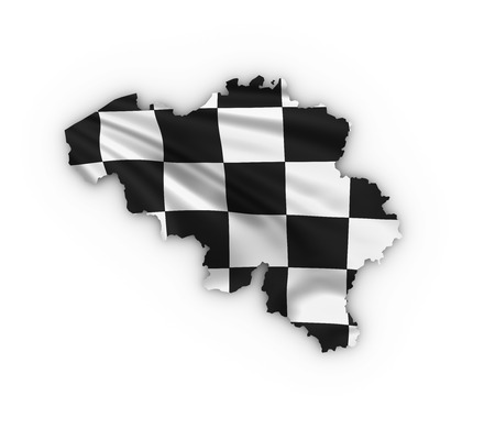 Belgium map showing checkered flag and including clipping path photo