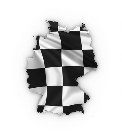 Germany map showing checkered flag and including clipping path photo