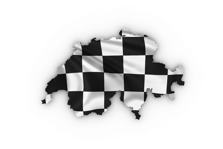 Switzerland map showing checkered flag and including clipping path photo