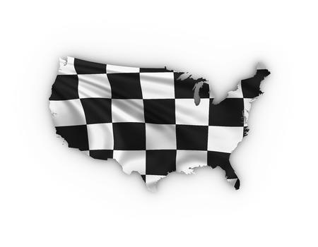 car speed: USA map showing checkered flag and including clipping path Stock Photo