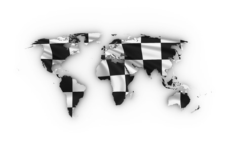 race winner: World map showing checkered flag and including clipping path