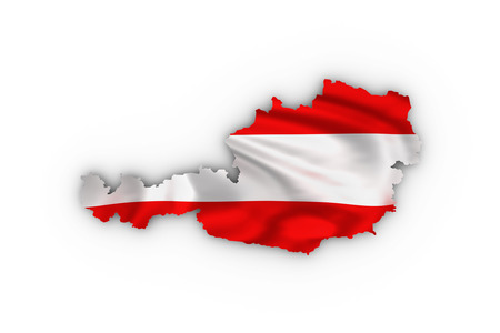 tirol: Austria map showing the austrian flag and including a clipping path.