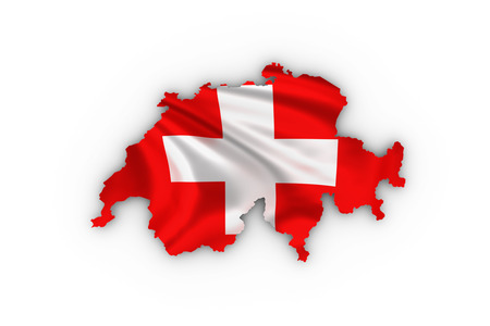Switzerland map showing the swiss flag and including a clipping path. photo