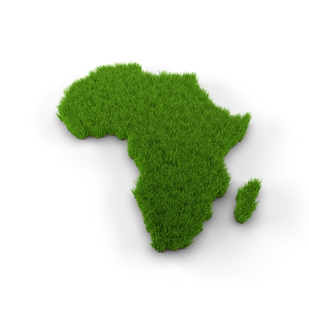 Africa map made of grass Stock Photo