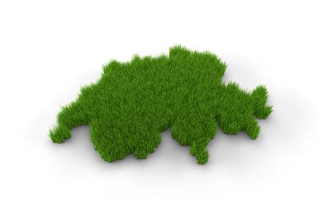 neutrality: Switzerland map made of grass Stock Photo