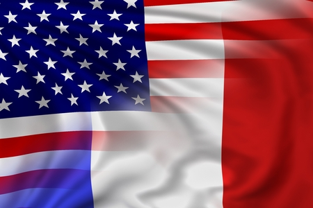 french flag: USA and France flag Stock Photo