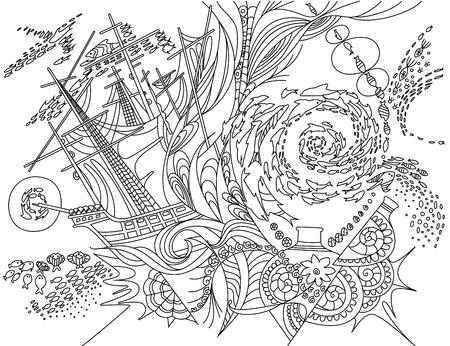 deepness: Sea bottom, doodles. Vector illustration sea.