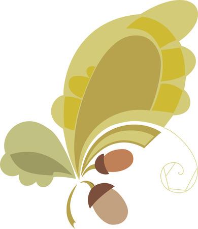 colores calidos: Elementos del vector de hojas de roble y bellotas design.stylizd. Colores cálidos Vectores