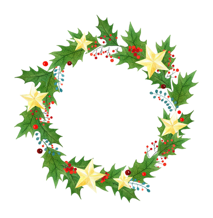 Christmas wreath or frame with holly berries, leaves and golden stars painted in watercolor on a white background. greeting card, wrapping paper