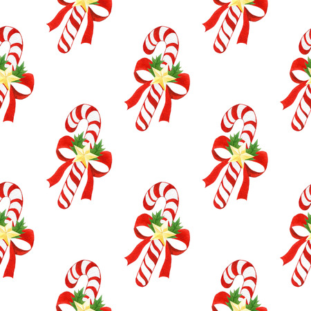 seamless holiday pattern with Christmas striped candy canes painted in watercolor on white isolated background