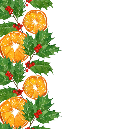 watercolor technique: christmas card in watercolor technique. holly branches and oranges