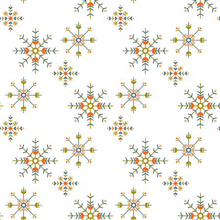 winter boho seamless pattern with geometric snowflakes isolated on white background. season design for print,wrapping paper