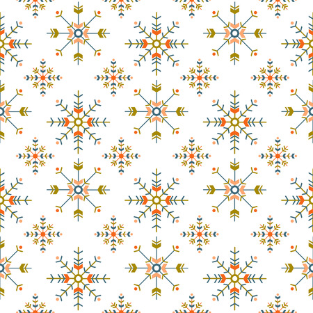 holiday ethnic seamless pattern with geometric snowflakes isolated on white background Illustration