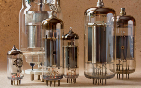 close up view of different vintage electronic vacuum tubes. Stock Photo