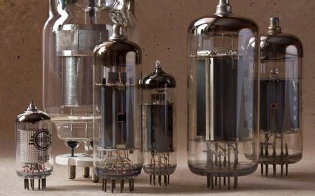 macro shot of vintage radio lamps on kraft paper background.