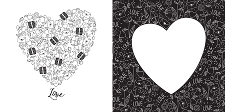 Happy Valentines day greeting card set in doodle style in black and white Illustration