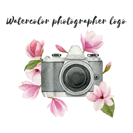 Watercolor photographer logo with vintage photo camera and magnolia flowers. Hand drawn spring illustration isolated on white background for your design.