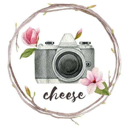 Waterverffotograafillustratie met uitstekende fotocamera, kroon van takken en magnoliabloemen. Hand getrokken lente logo geïsoleerd op een witte achtergrond voor uw deisgn.