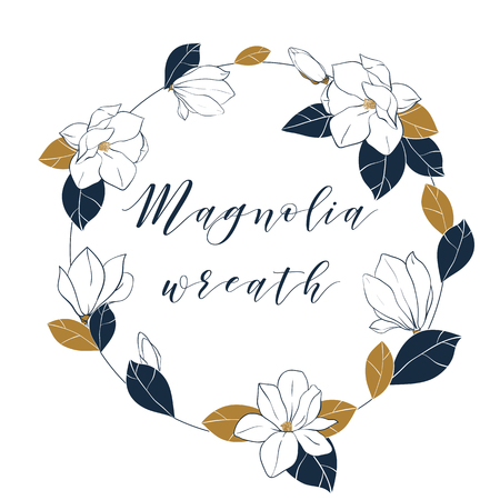 Graphic magnolia wreath in deep blue and bronze colors. Vector hand draw illustartion with magnolia flowers,buds and leaves. Illustration