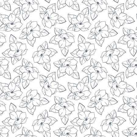 Grafische Magnolienblüten Mit Blättern. Vektor Frühling Und Sommer ...