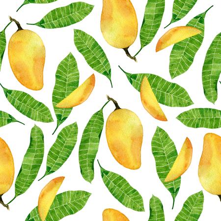 マンゴー果実と葉の水彩熱帯のシームレスなパターン。手描きイラストは、白い背景で隔離。