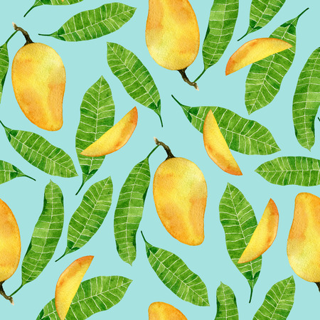 Watercolor summer seamless pattern with mango fruits and leaves on turquoise background. Tropical design for print,textile,wrapping paper.Vietnamese fruits.