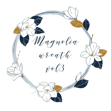 Vector magnolia wreath in deep blue and bronze colors. Hand draw illustartion with magnolia flowers,buds and leaves.Template for your design