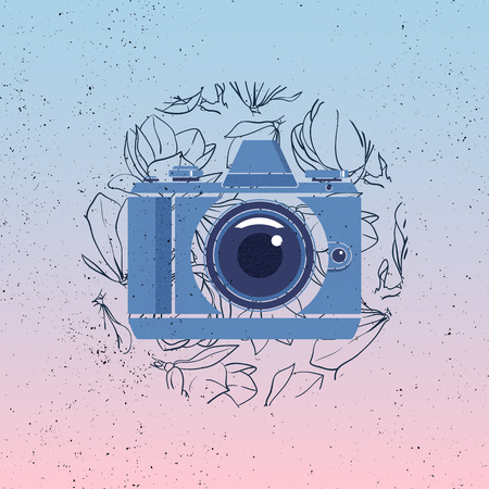 Photo camera vector icon with magnolia flowers on gradient background. Grunge photographer logo. Illustration