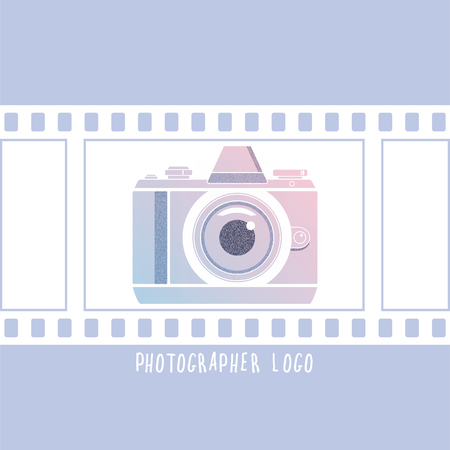 Photographer design element for logotype, label, badge and other. Retro photocamera and film in trendy colors. Vector illustration