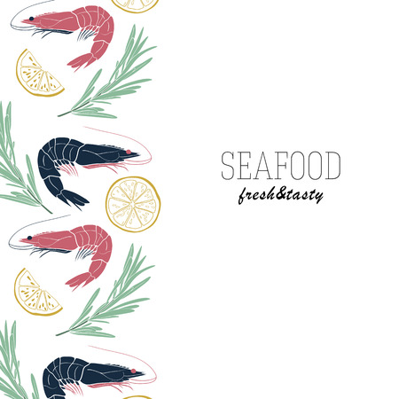 Seafood template isolated on white background. Shrimps, slices of lemon and rosemary. Vector illustration for menu, banner, flyer etc.