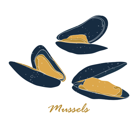 Mussels vector illustration in flat style isolated on white background. Seafood colored concept. Fresh and organic product. Design for print, restaurant menu, promotional poster or banner.
