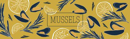 Ristorante di crostacei e frutti di mare o modello di banner di mercato dei prodotti della pesca. Modello di vettore di banner di cozze. Illustrazione disegnata a mano su sfondo di senape.