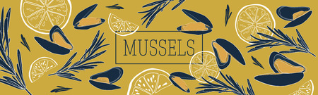 Shellfish and seafood restaurant or fishery product market banners template. Mussels banner vector template. Hand drawn illustration on mustard background. Illustration
