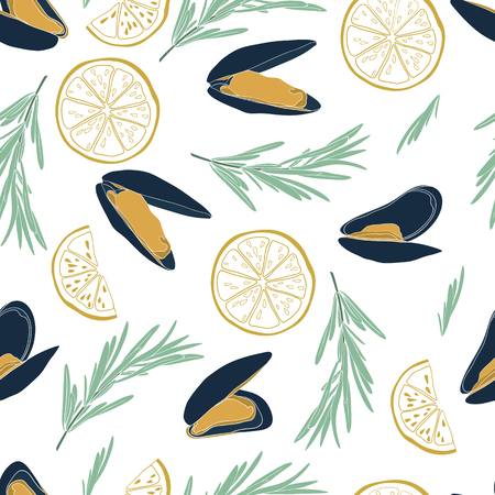 Mussel vector seamless pattern in flat style isolated on white background. Seafood colored concept. Great design for seafood restaurant menu, flyer, card, promotional poster or banner.