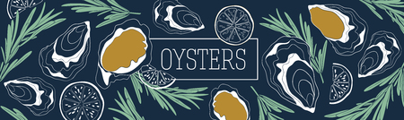 Oysters banner vector template. Shellfish and seafood restaurant or fishery product market banners template. Hand drawn illustration on deep blue background.