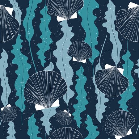 Sea vector seamless pattern with seashells and seaweeds on deep blue background. Trendy pattern for printing, fabric, textile, manufacturing, wallpapers.