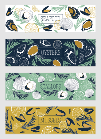 Seafood banner template set. Fish restaurant horizontal design collection. Oysters, scallops, mussels with lemon and rosemary.