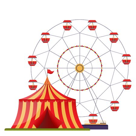 Amusement park vector illustration isolated on white background. Flat design template with ferris wheel and circus tent.