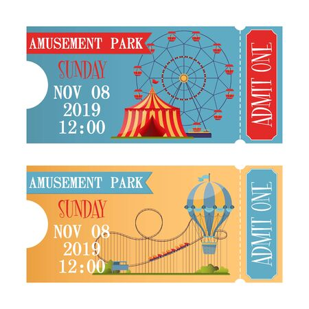 Amusement park tickets in flat design style. Vector template with colorful attractions and illustration elements. Ilustrace