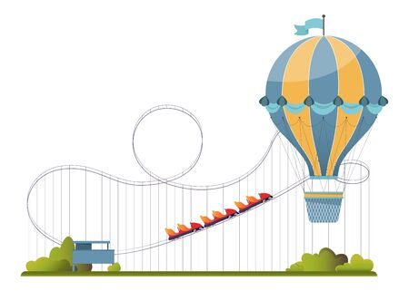 Vector illustration with amusement park elements in flat style. Air-balloon and roller-coaster isolated on white backgroud.