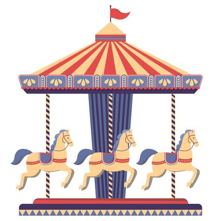 Carousel with horses in amusement park. Colorful vector flat illustration isolated on white background. Ilustrace