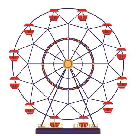 Panoramarad isoliert auf weißem Hintergrund. Karneval-Symbol im flachen Stil. Vektor-Illustration.